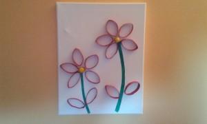Tableau fleurs rouleau papier toilette
